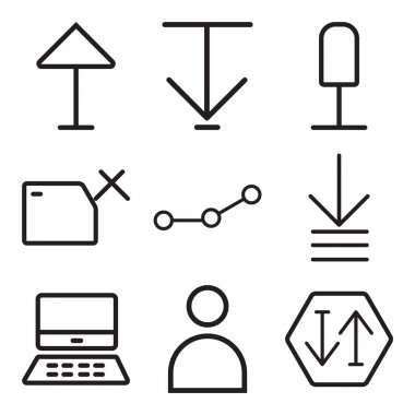 Set Of 9 simple editable icons such as Sort, User, Mac, Order, Connection, Folder, Microphone, Down arrow, Up can be used for mobile, web icon