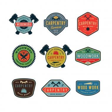 set of vintage carpentry logos. vector illustration