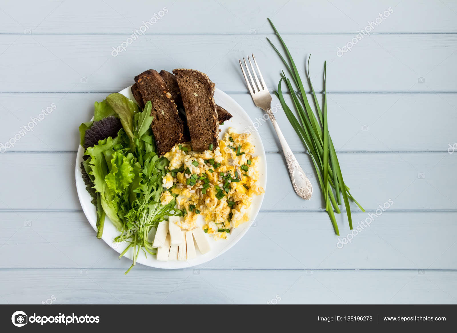 Healthy Breakfast Whole Wheat Toasted Bread Scrambled Eggs Salads Flat Lay On