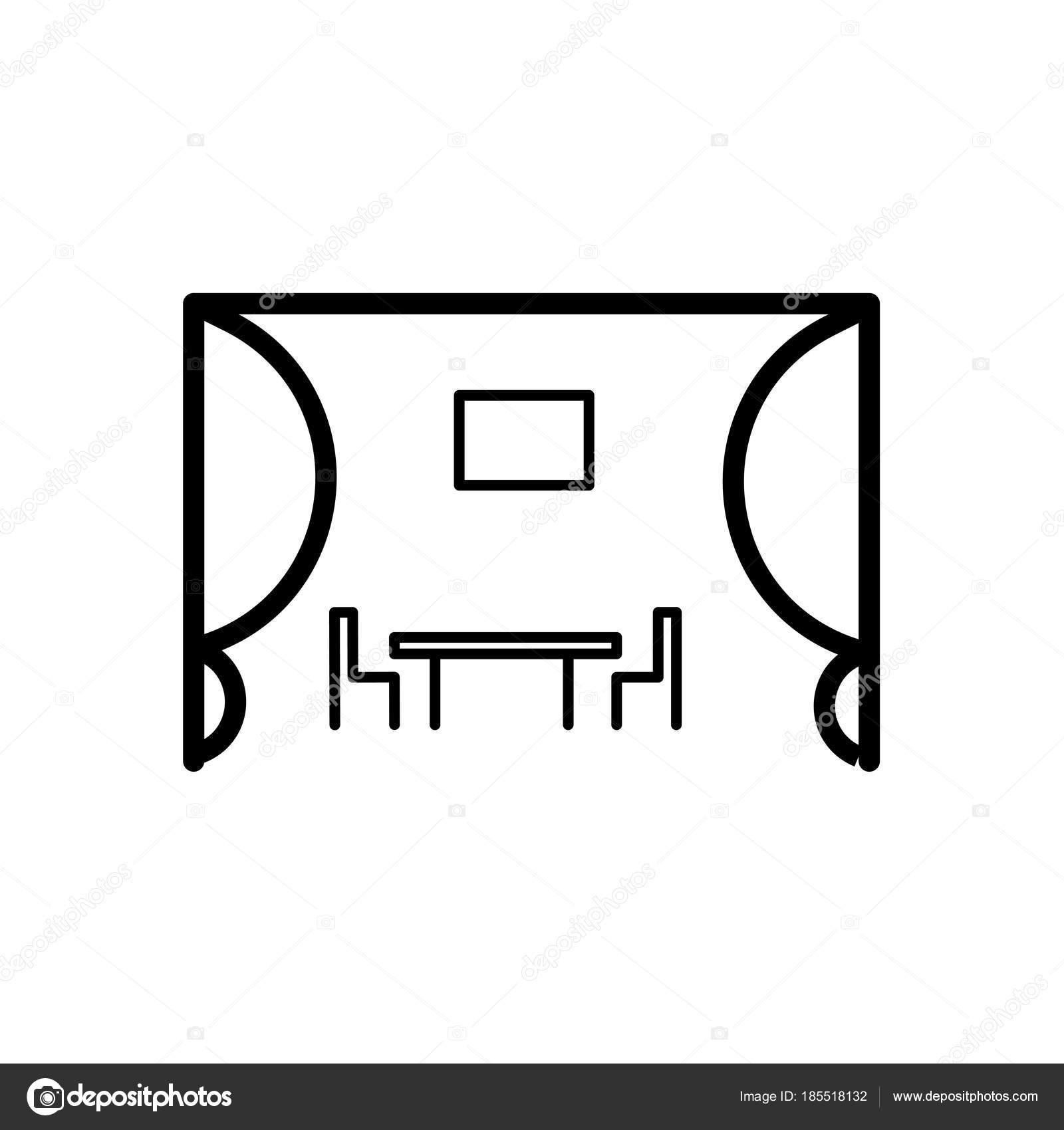 Símbolo de la cocina. Windows de silla mesas línea icono, contorno y ...