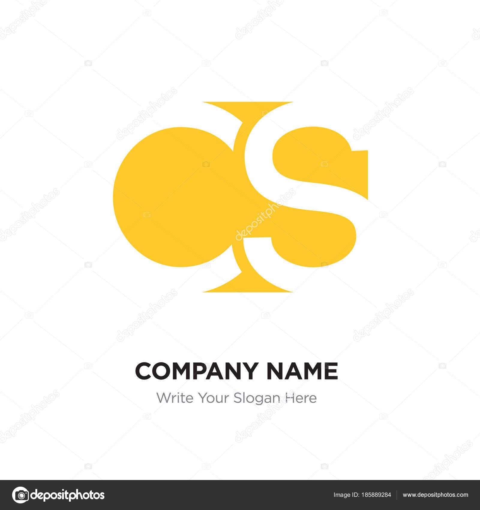 abstract letter cs sc logo design template yellow alphabet init