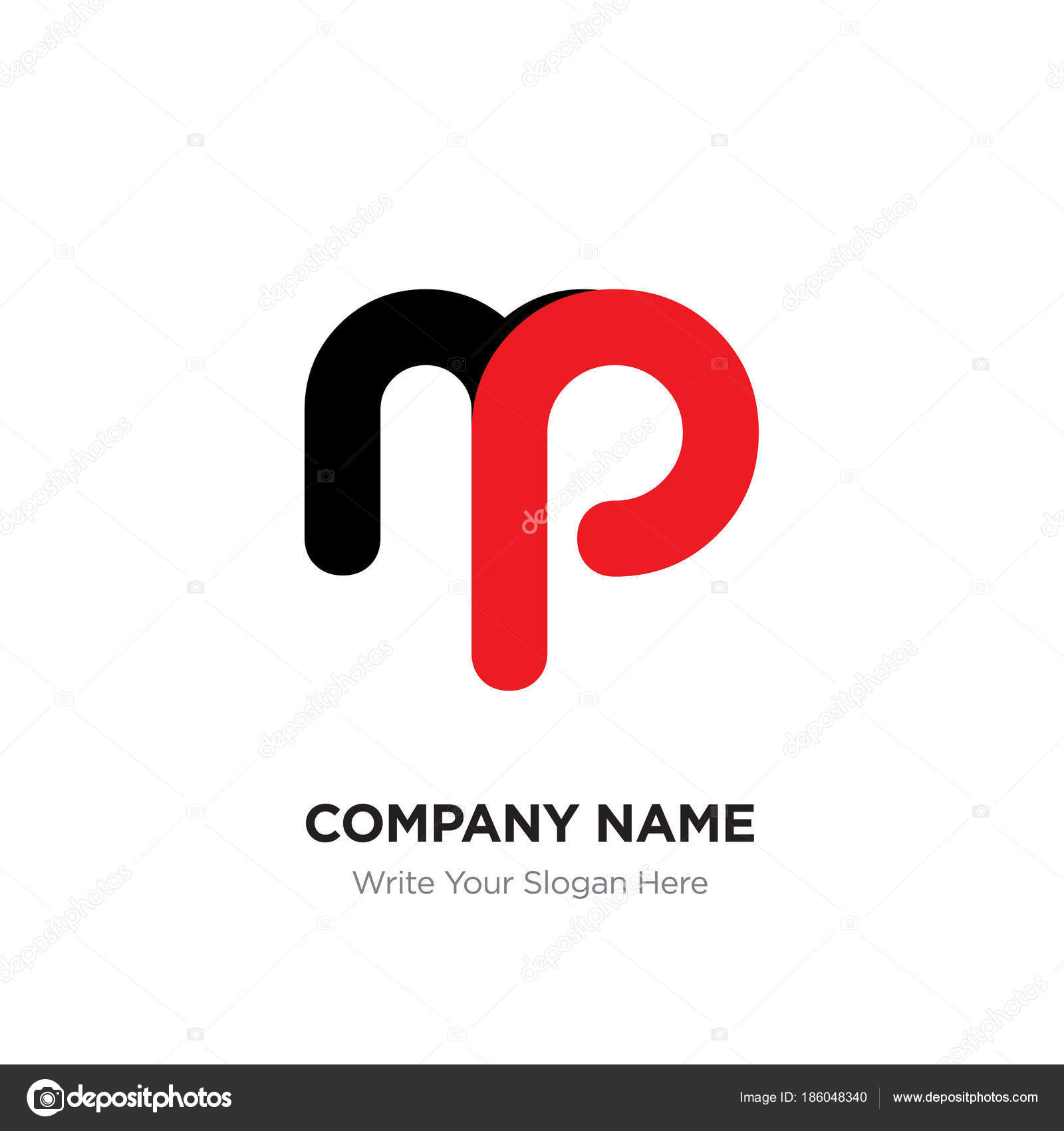Resumen carta mp o pm logo plantilla de diseño, alfabeto negro en ...