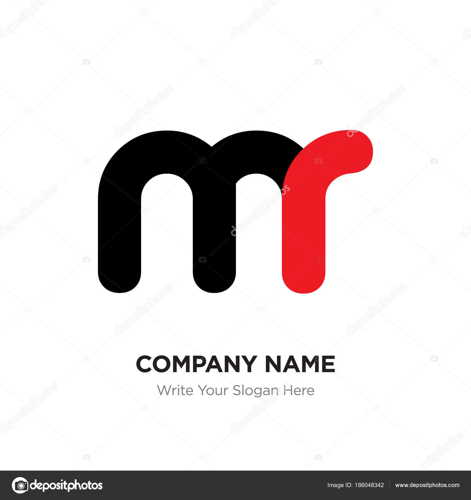 Rm name logo | Abstract letter mr or rm logo design template