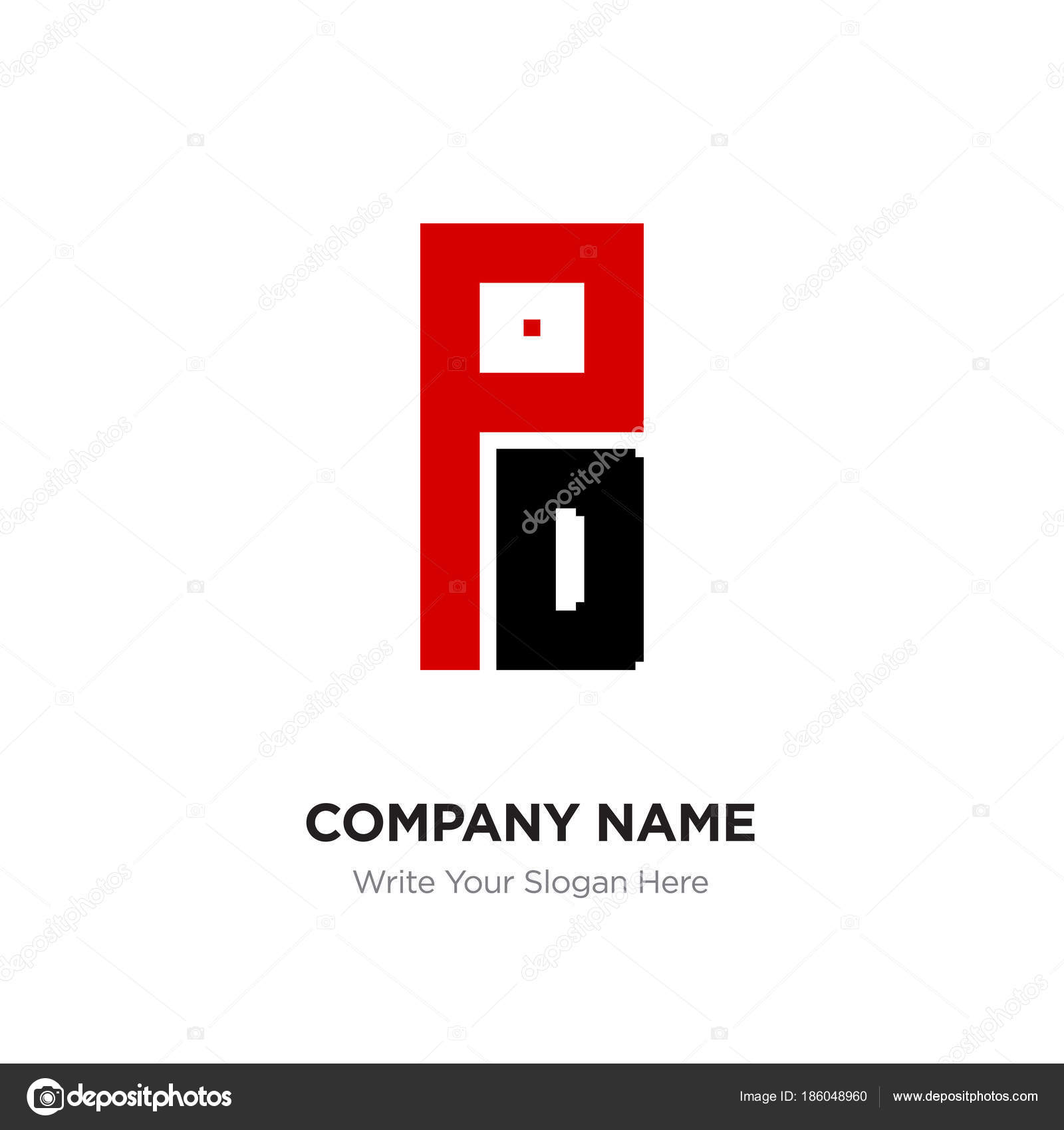Abstract letter PD or DP logo design template, Black Alphabet in ... for Logo Design For Alphabets  284dqh