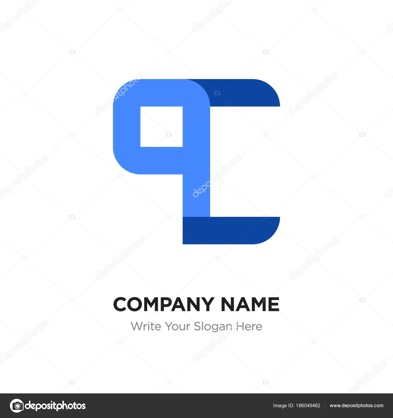 Abstract letter QC or CQ logo design template, Black Alphabet in ...