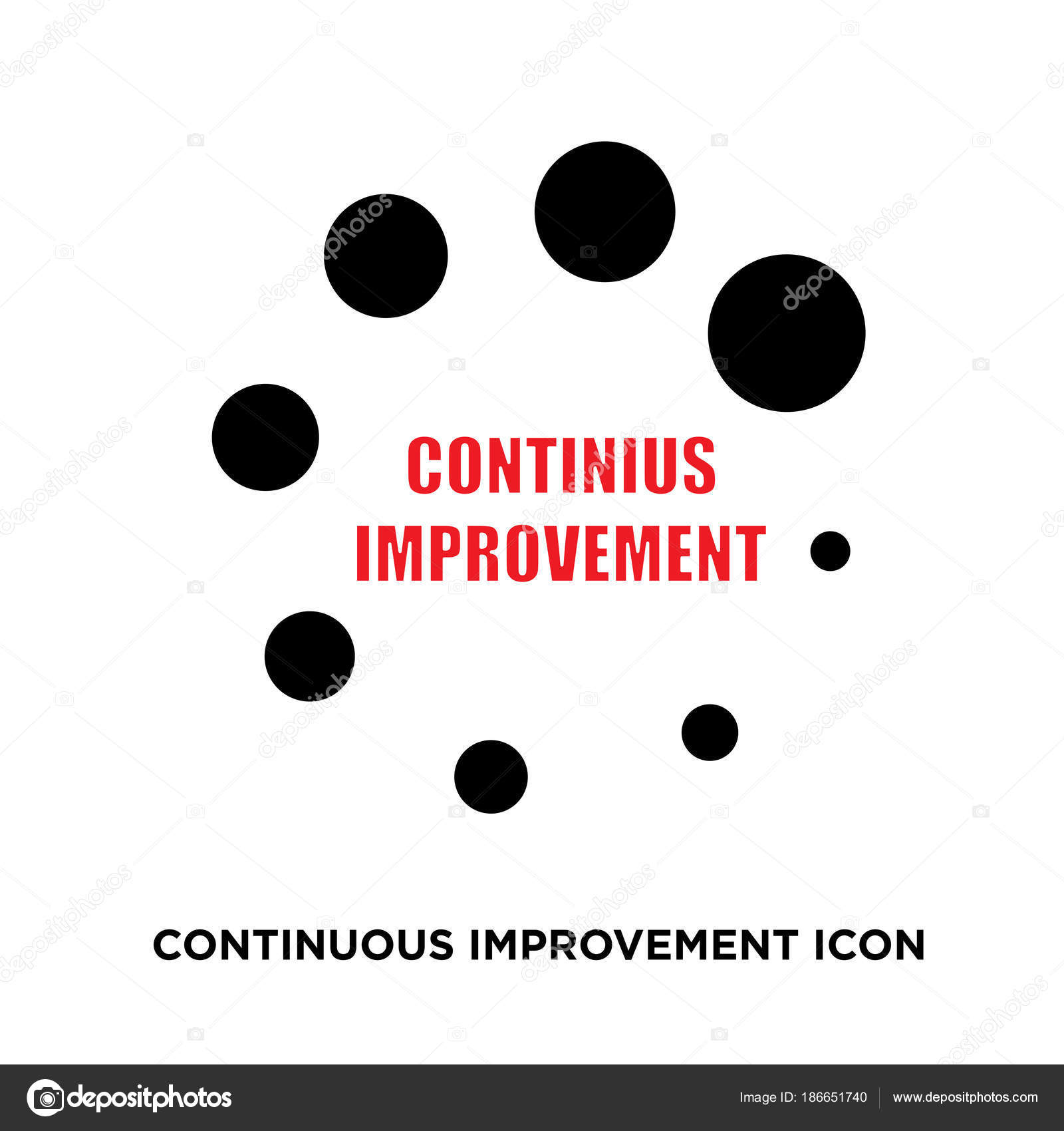 continuous improvement icon flat vector sign isolated on white b