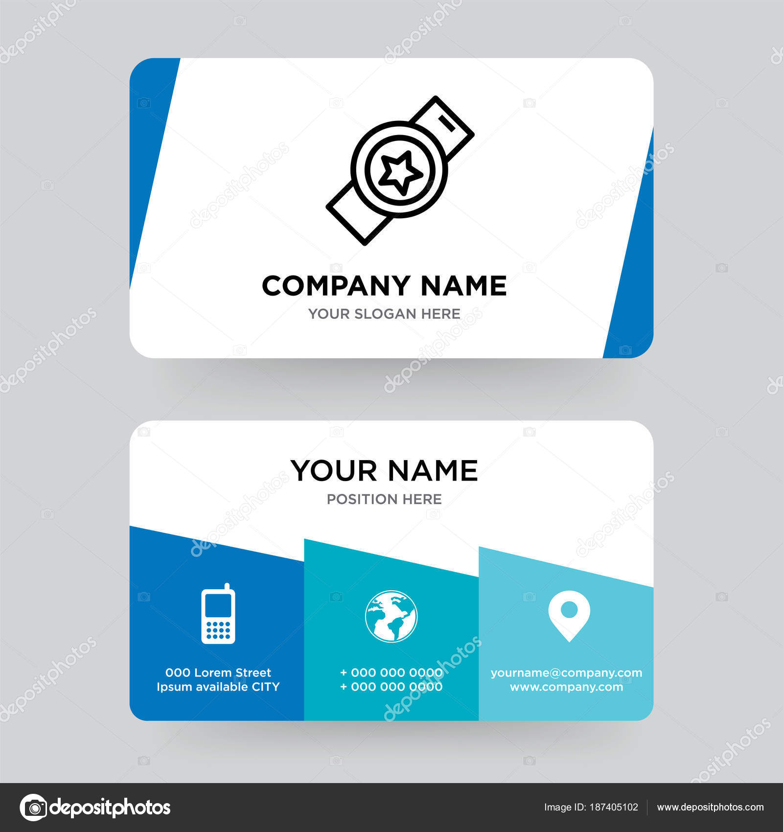 Watch, clock business card design template, Visiting for your co ...