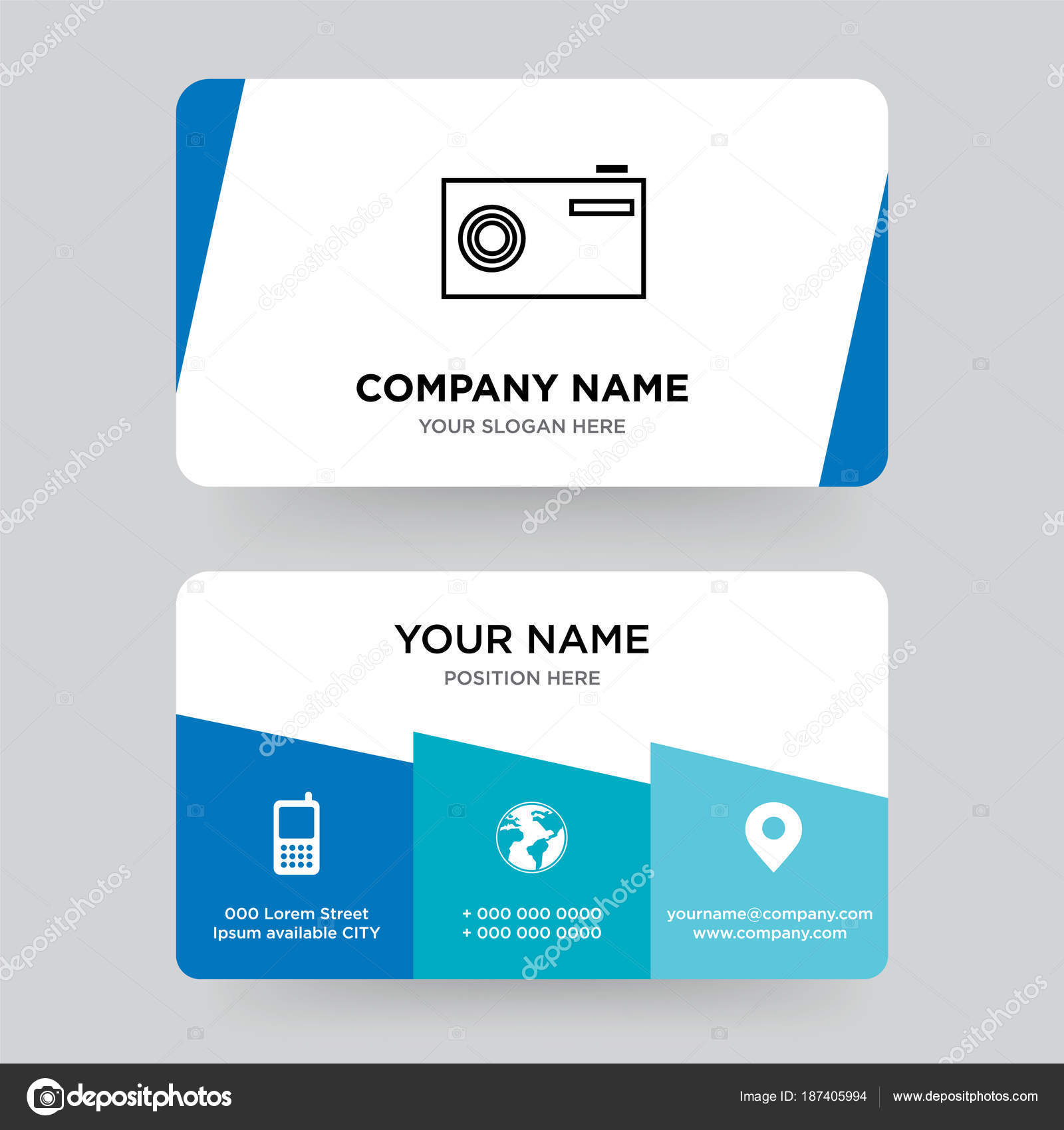 Camera business card design template, Visiting for your company ...