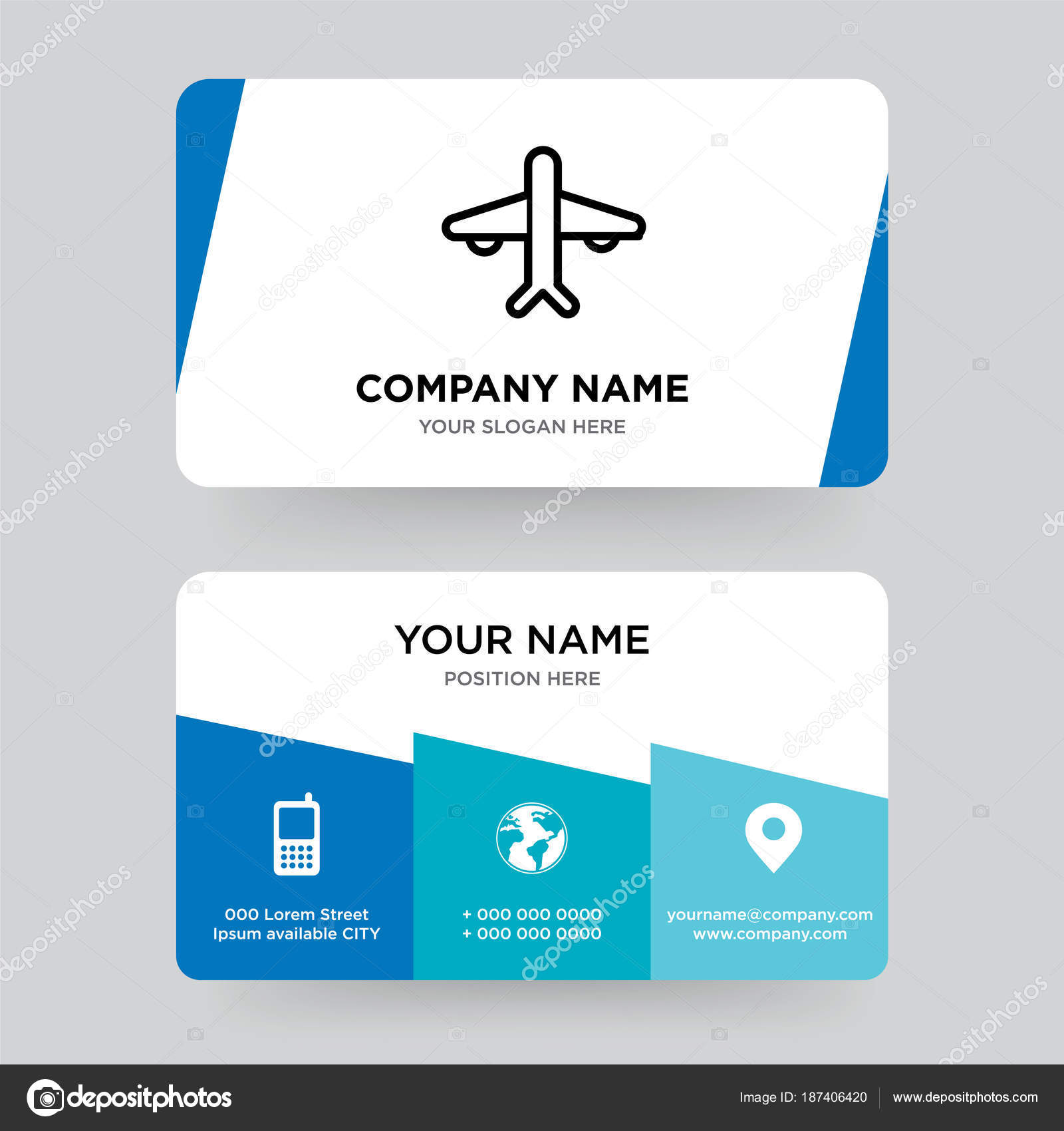 Airplane business card design template, Visiting for your compan ...