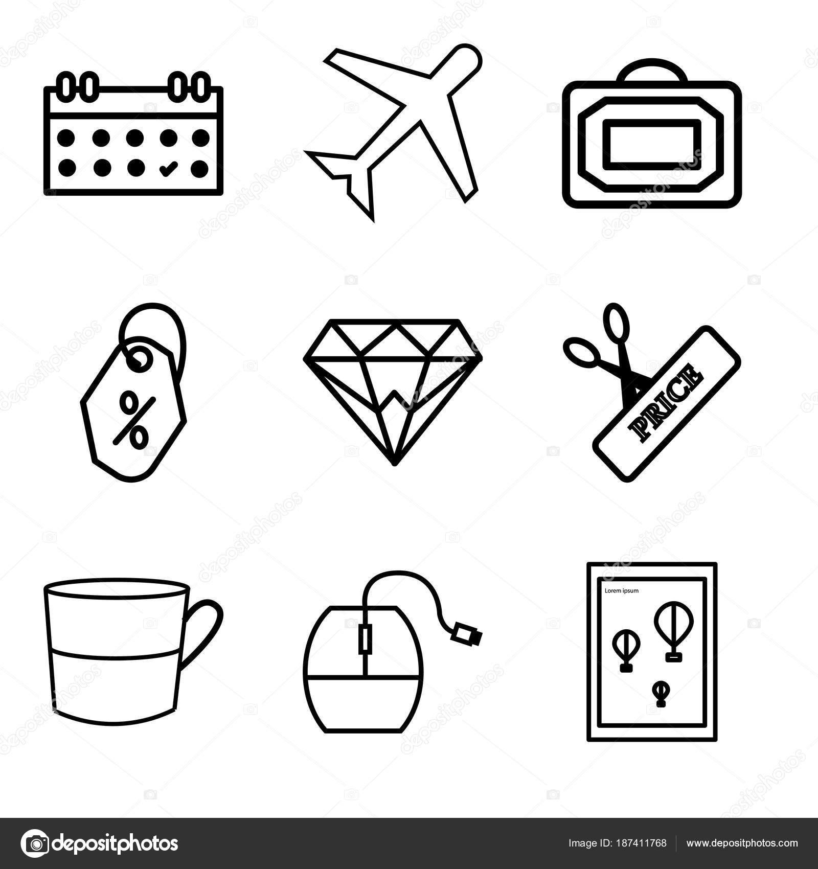 Set de 9 iconos editables simple como cartel de la pared o el marco ...