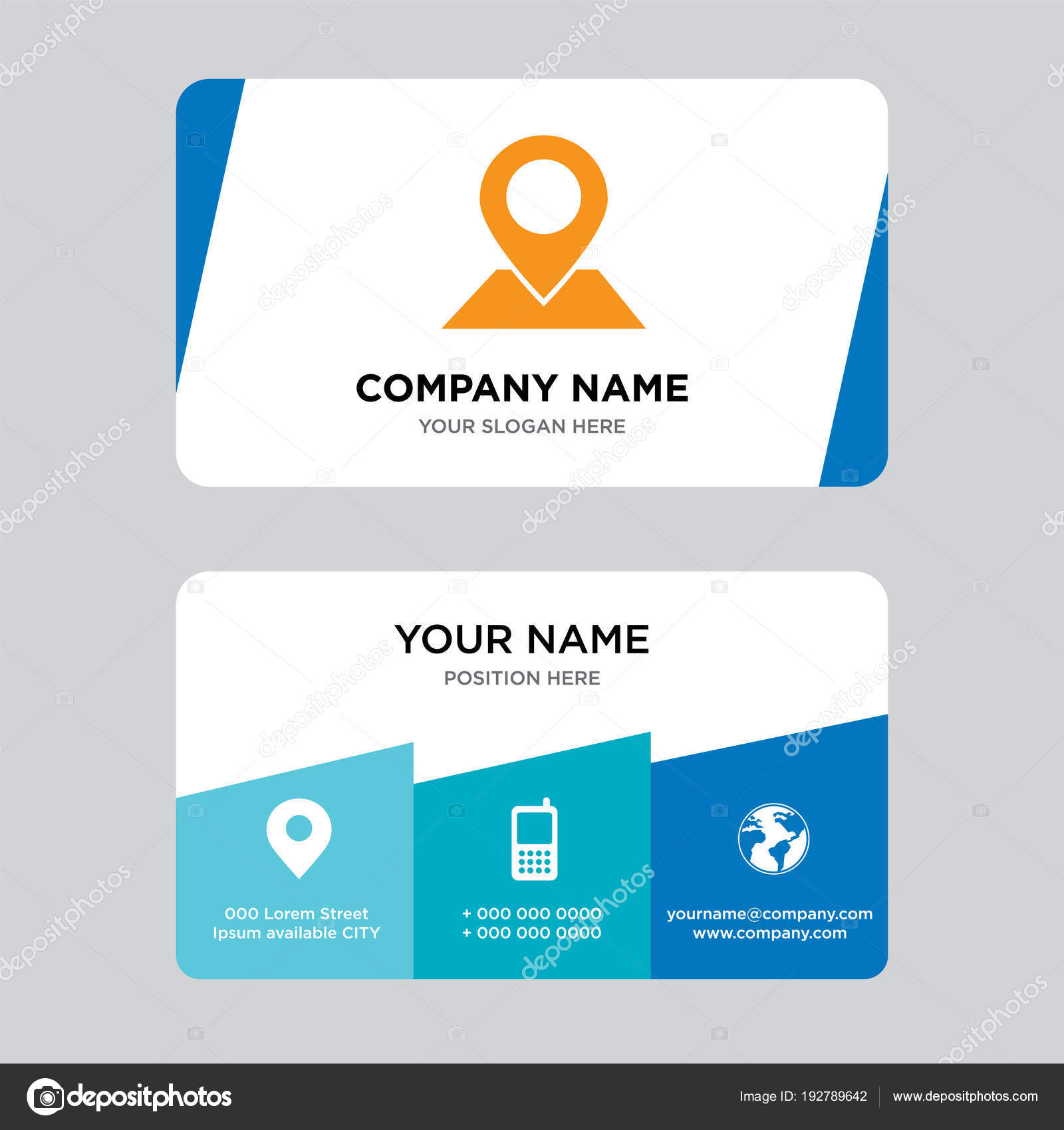 Placeholder on map paper in perspective business card design ...