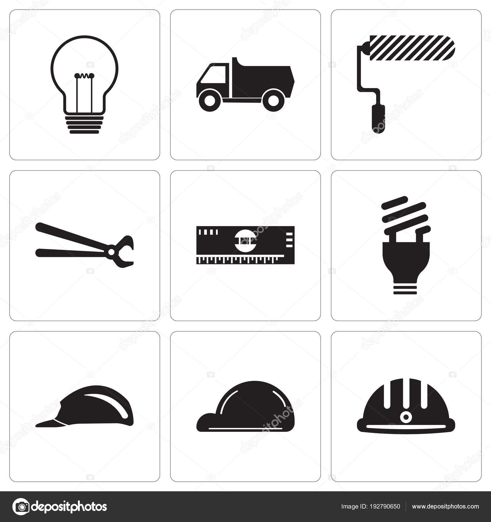 Set de 9 iconos editables simple como casco ac566cfc893
