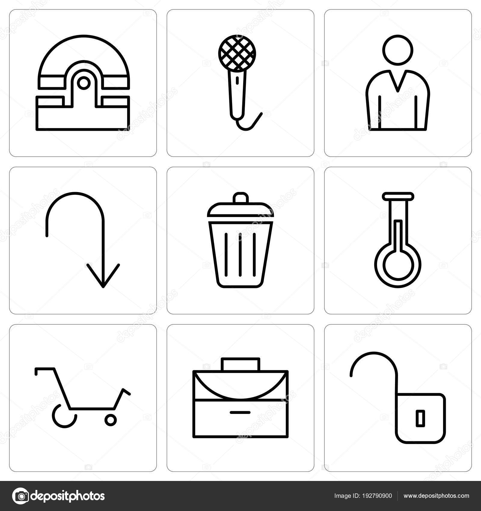 Set Of 9 simple editable icons such as Unlocked padlock