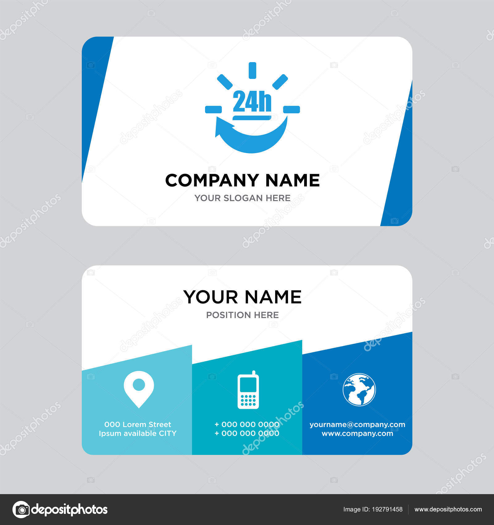 24 hours delivery business card design template — Stock Vector ...