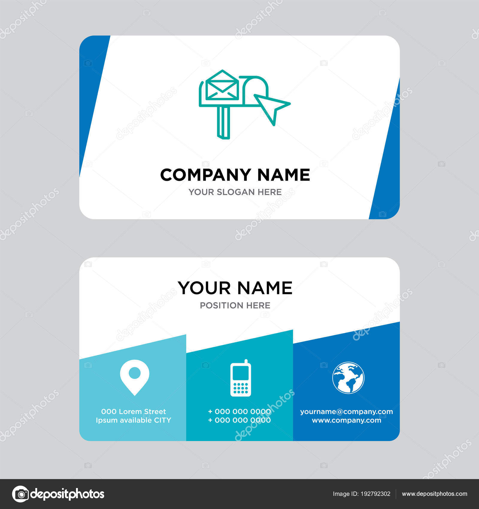 Email box business card design template stock vector email box business card design template visiting for your company modern creative and clean identity card vector illustration vector by provectorstock reheart Image collections