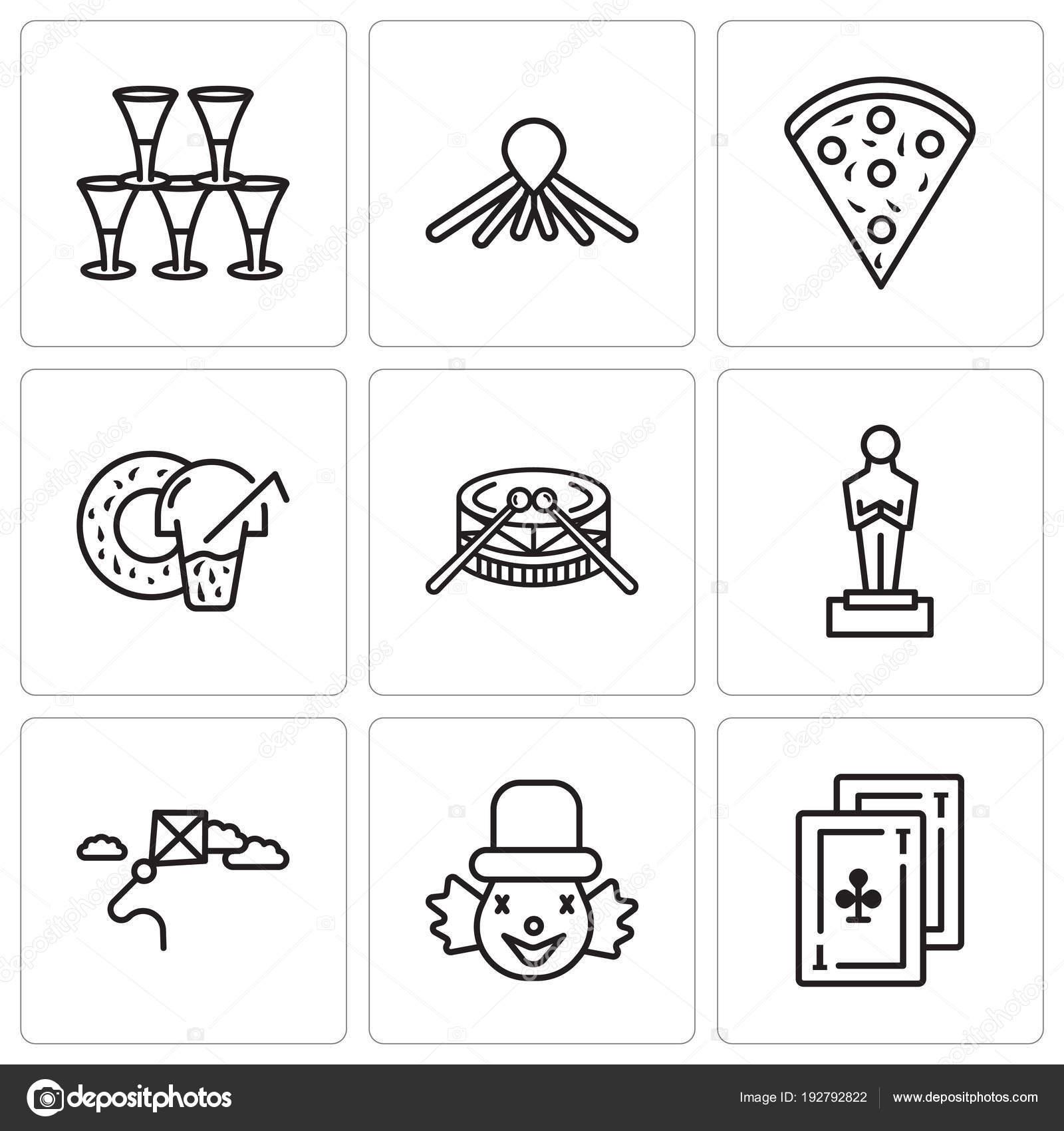 Set de 9 iconos editables sencillos como tarjetas 56fc2baf1c5