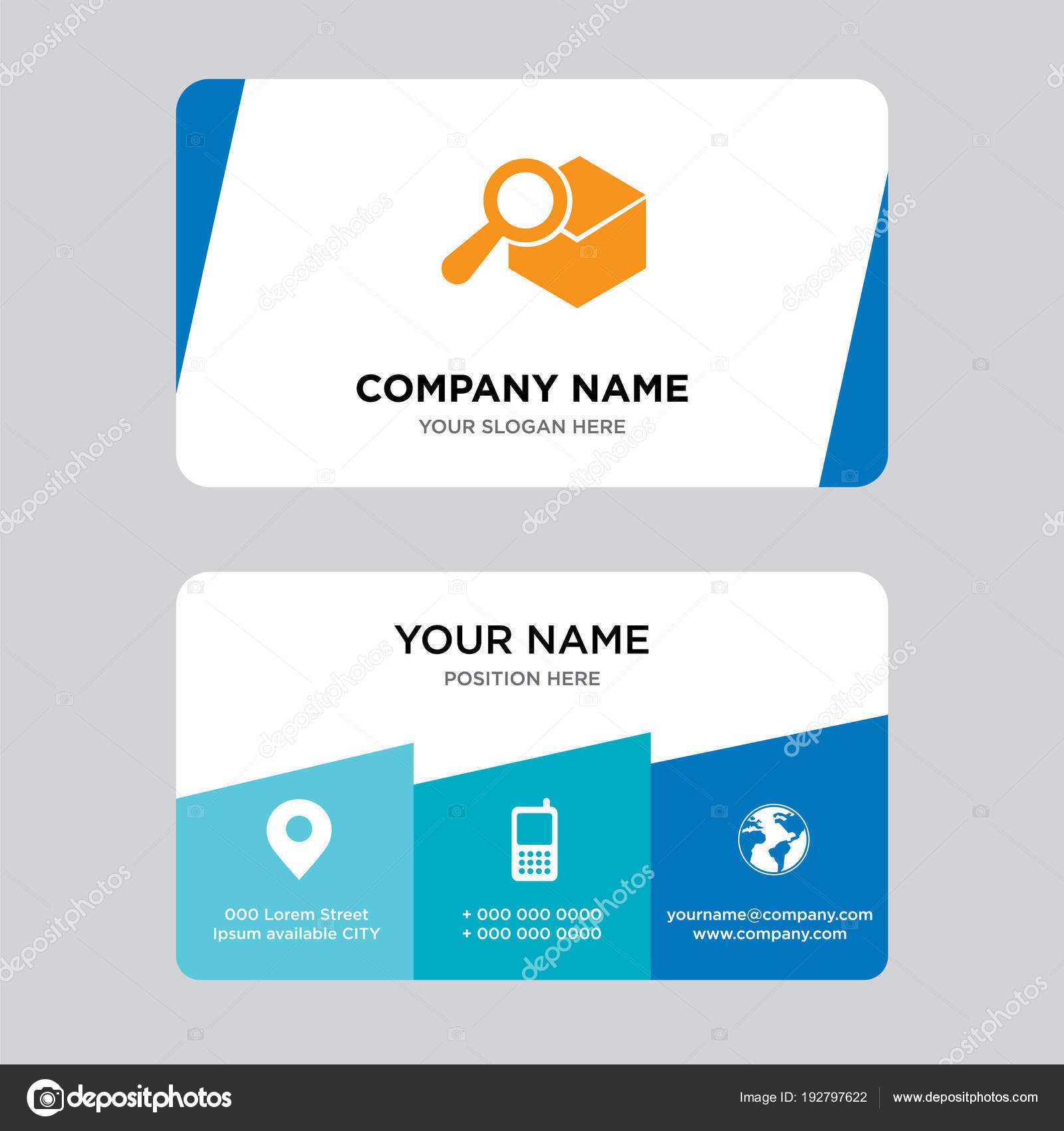 Search delivery service tool business card design template — Stock ...