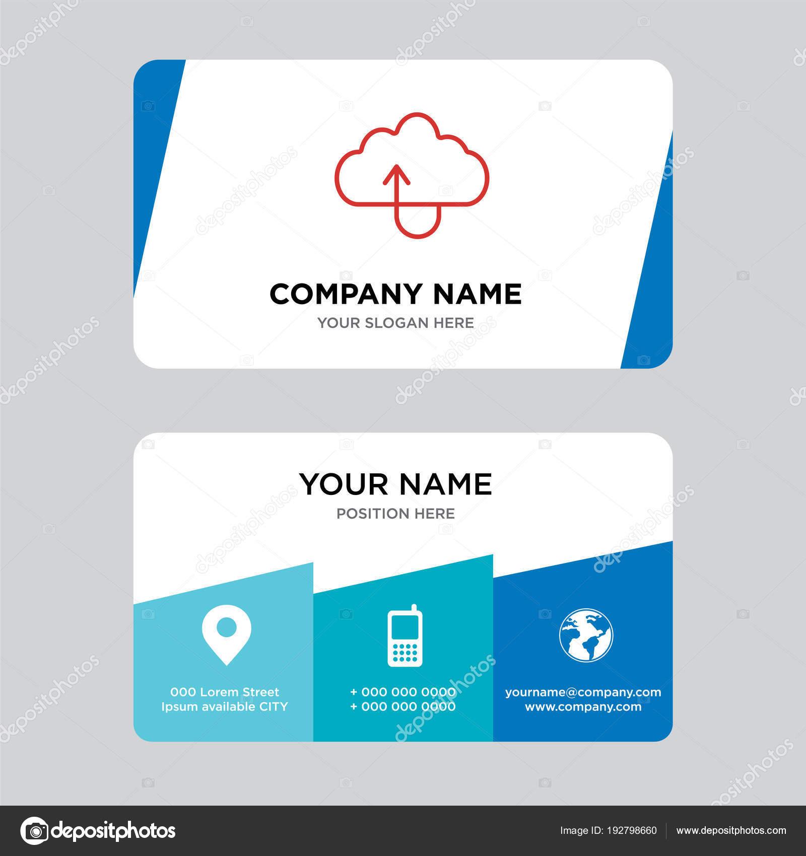 Hochladen Von Dateien Auf Der Wolke Visitenkarte Design