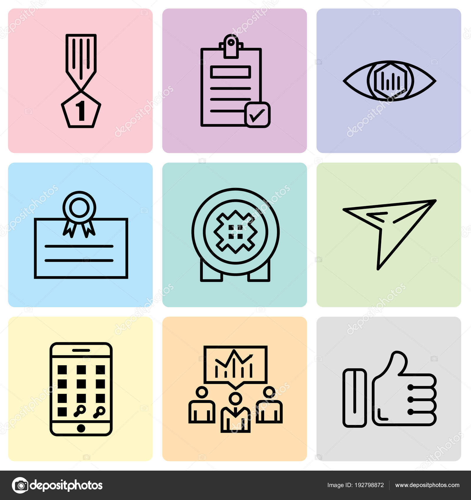 Set Of 9 simple editable icons such as like, business men