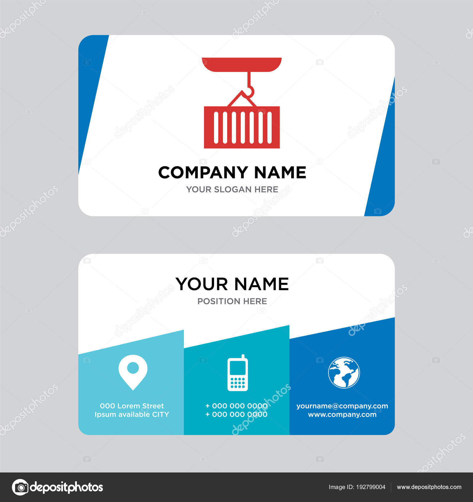 Container Hanging Of A Crane Business Card Design Template Stock
