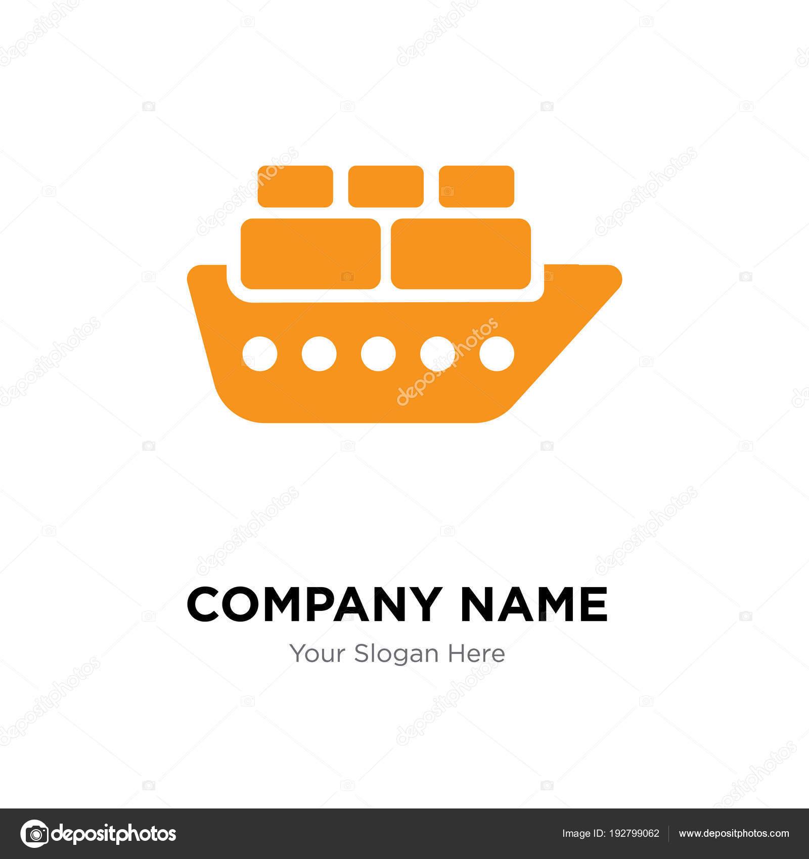 Contenedores en plantilla de diseño de logotipo de empresa buque ...