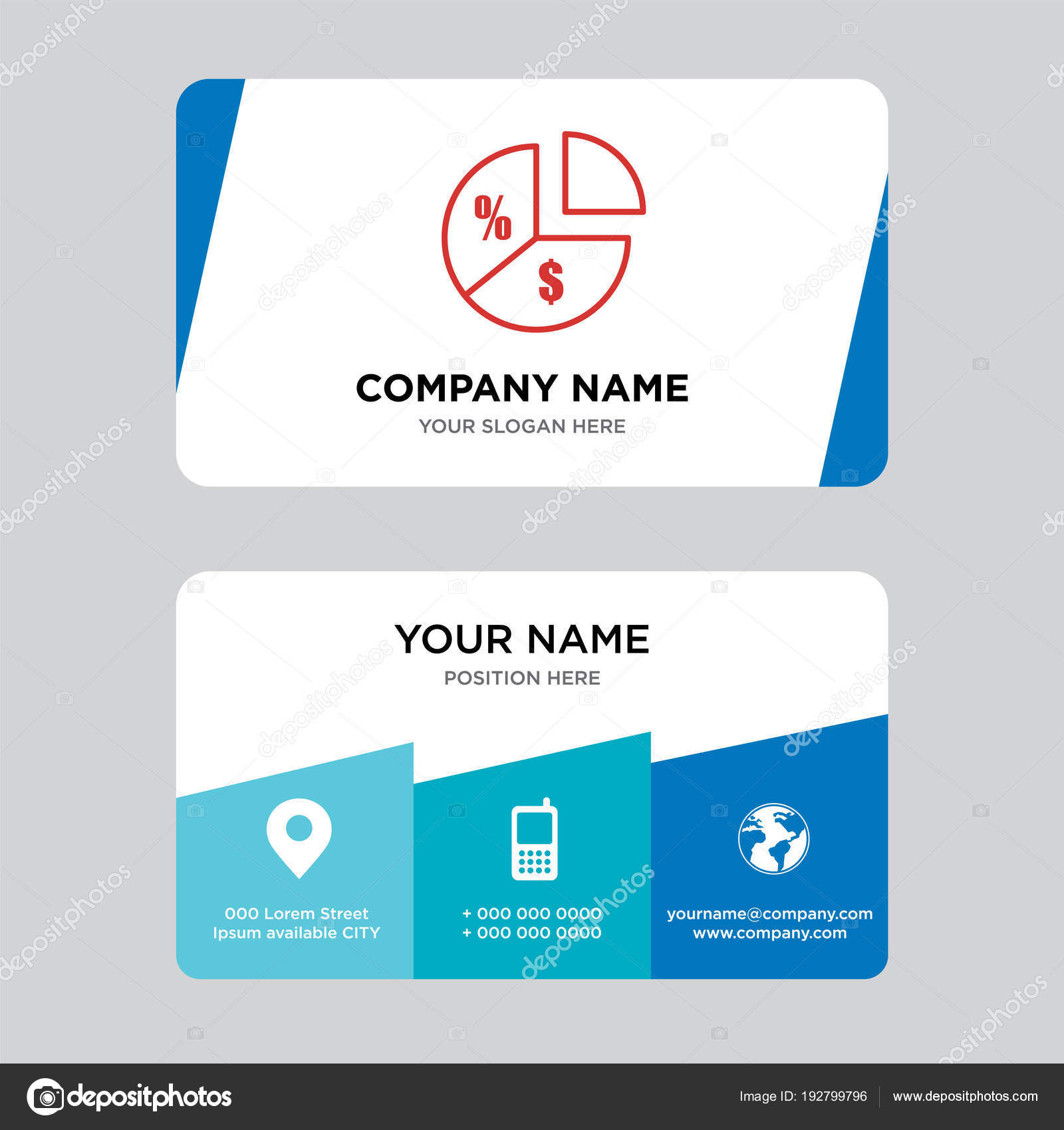 Pie Chart Information On Money Business Card Design Template Stock