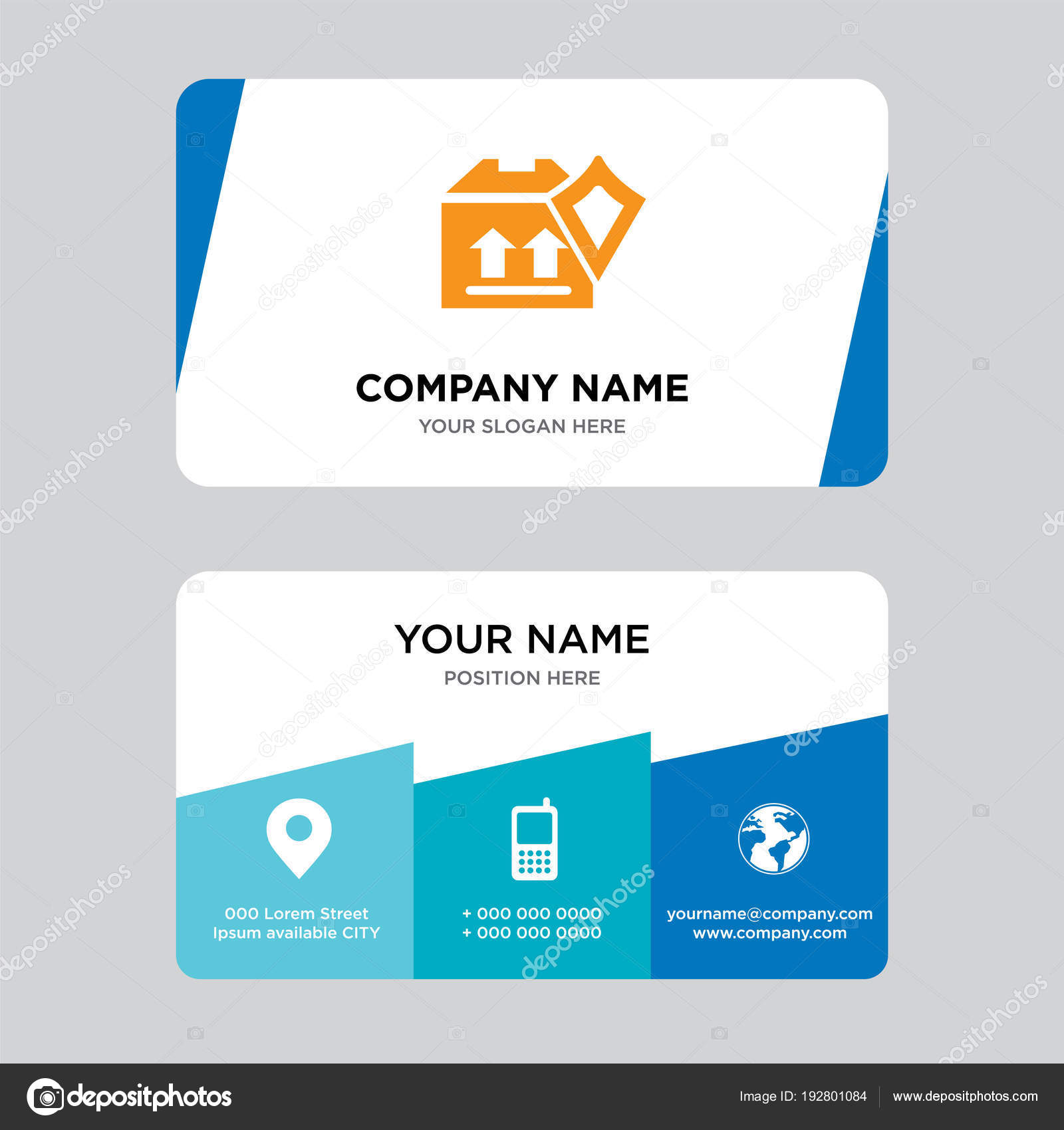 Delivery pack security business card design template — Stock Vector ...