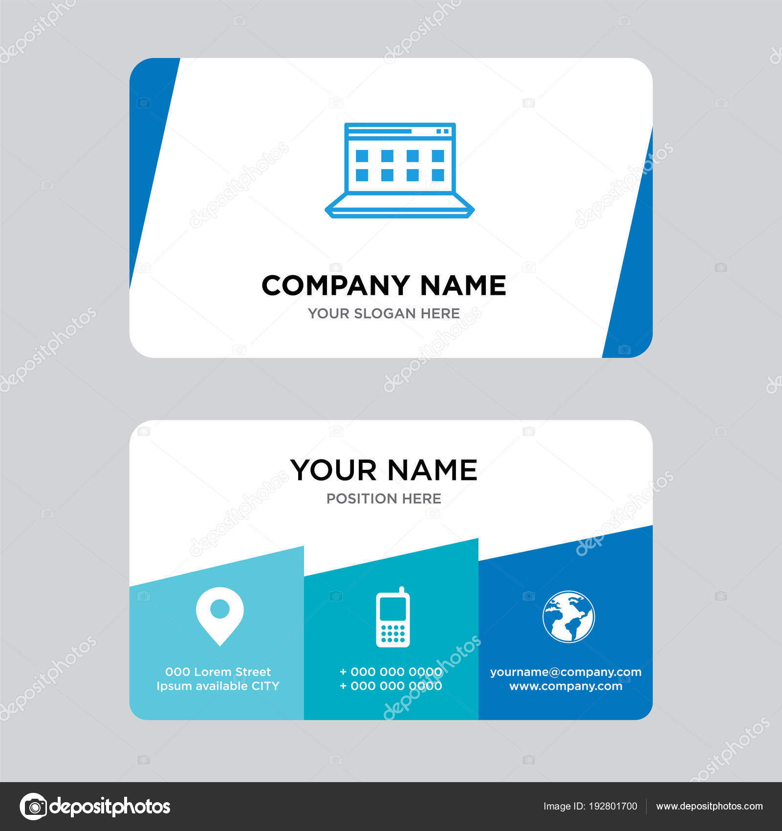 Computer business card design template stock vector computer business card design template stock vector wajeb Gallery