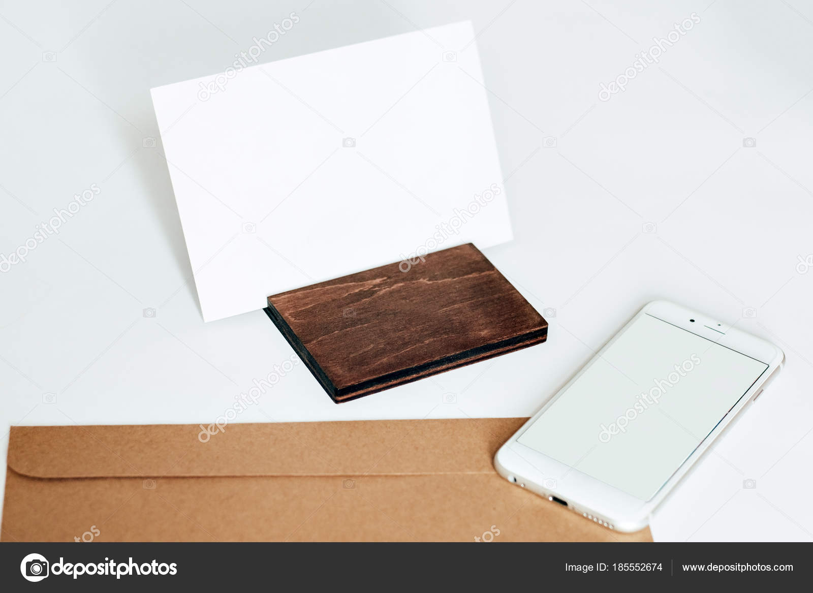Envelope Letter Wooden Stand Photo Phone — Stock Photo
