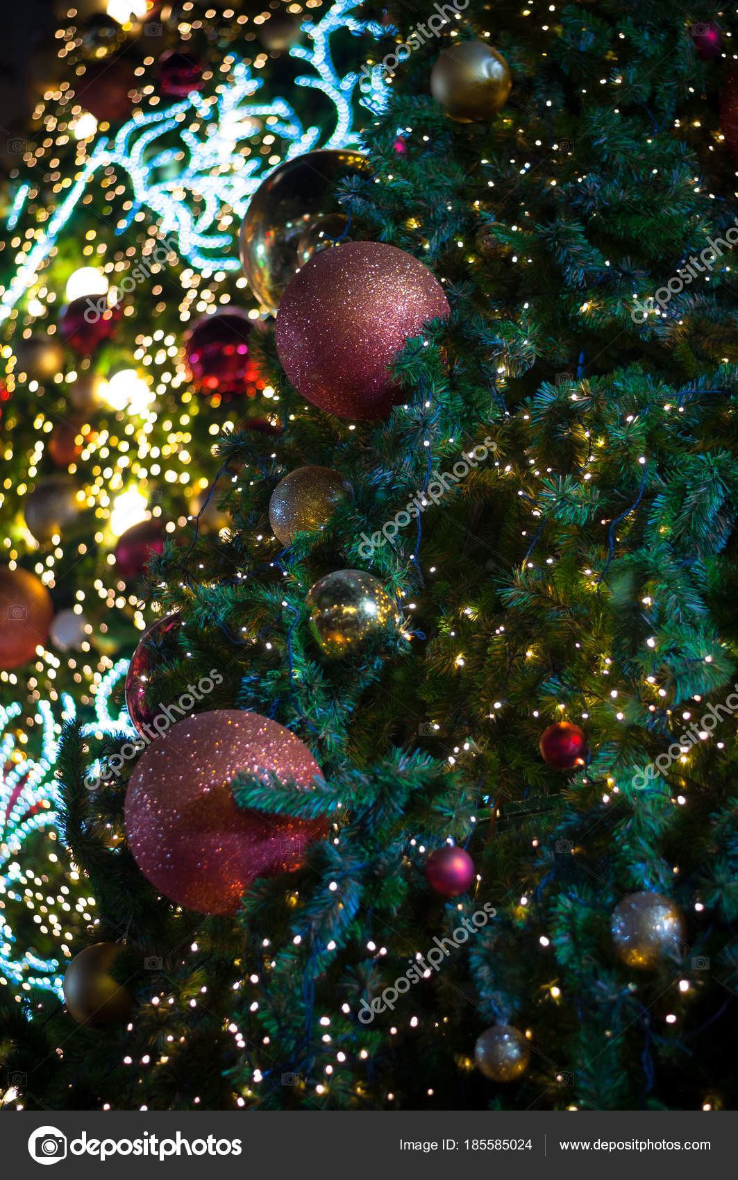 glitter red ball celebrate christmas on tree with wire white light vignette background photo by superfroydclubgmailcom