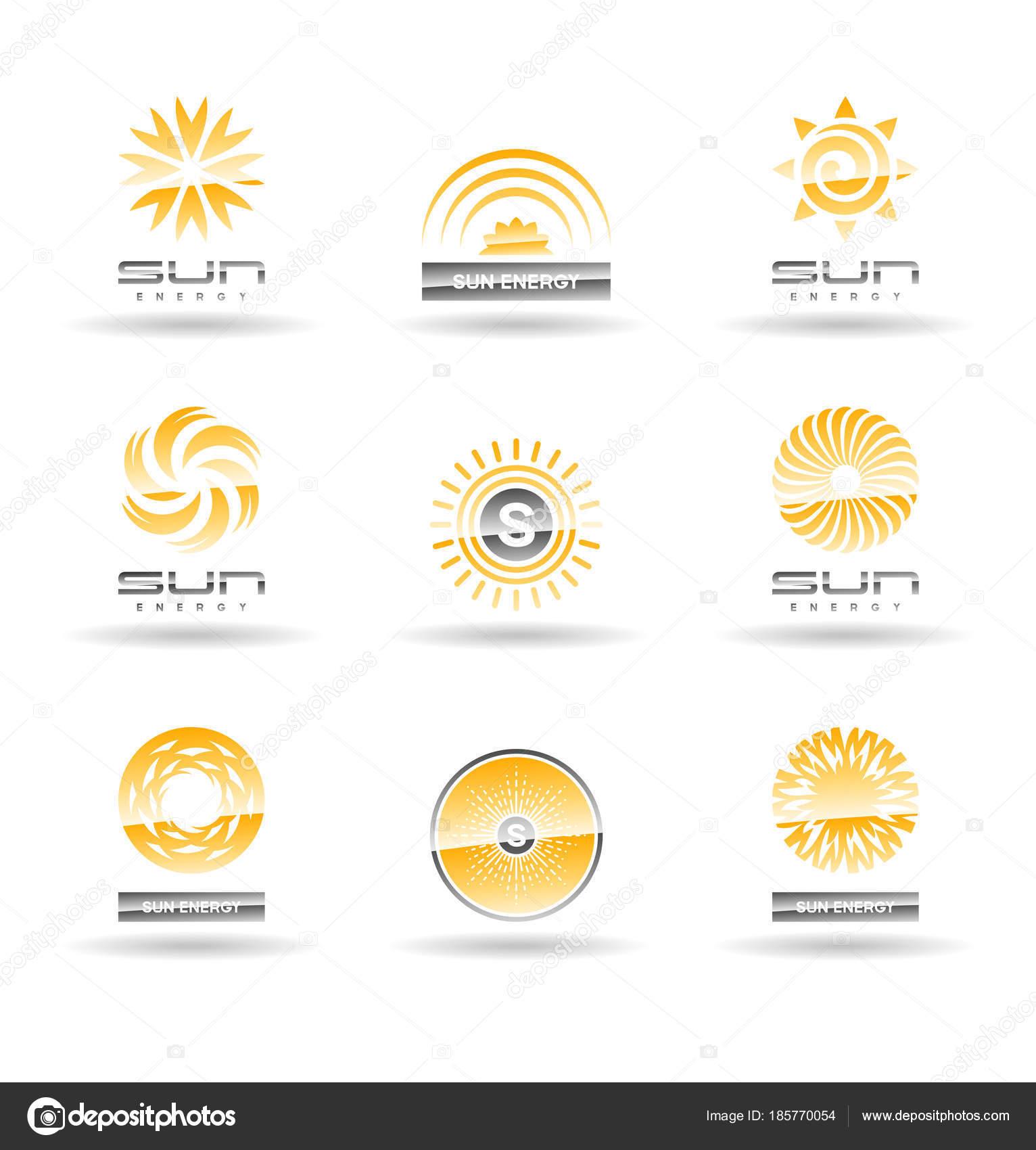 Sun Solar Energy Vector Logo Design Elements Icons — Stock