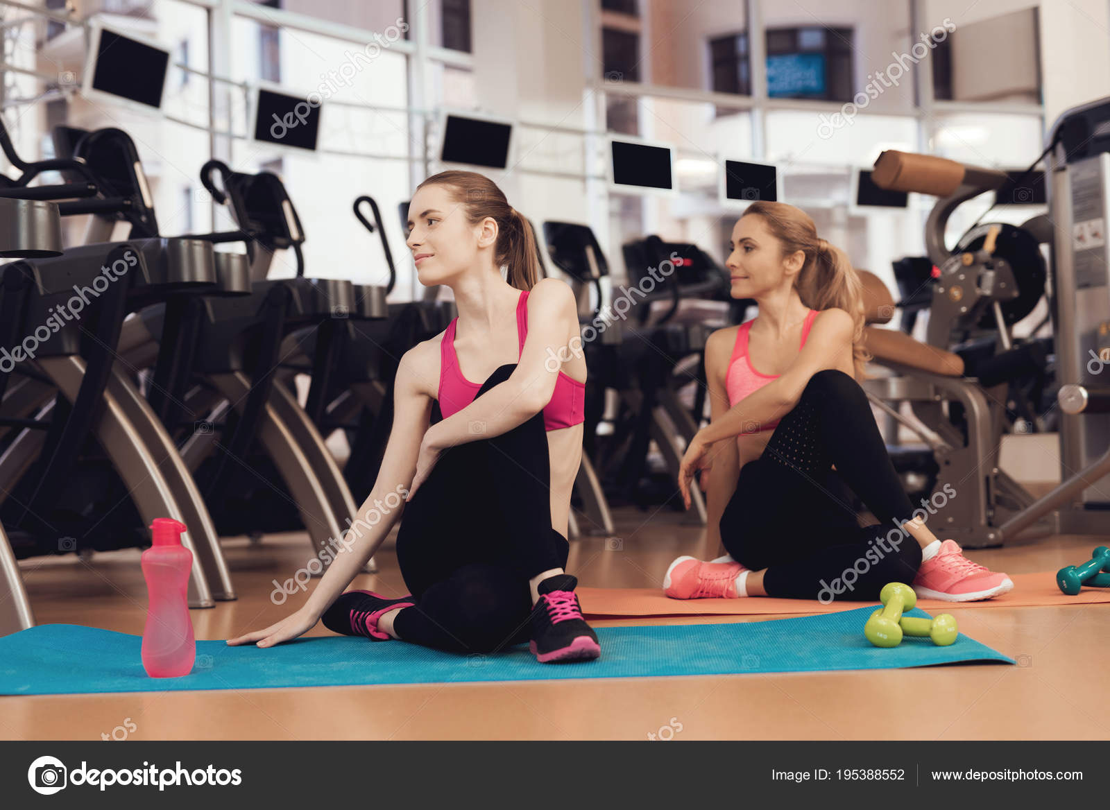 Mother Daughter Sportswear Doing Yoga Poses Gym Stock Photo