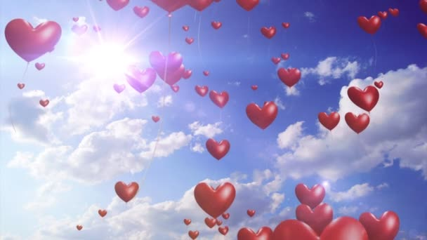Heart Balloons // 1080p Romantic And Wedding Video Background Loop. Heart-shaped balloons rise into a sunny sky. This is a gorgeous video background for weddings, parties and celebrations.