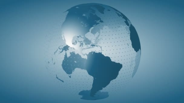 stilisierte rotierende Globus-Video-Hintergrundschleife. stilisierte Erdkugel mit blauem Farbschema.
