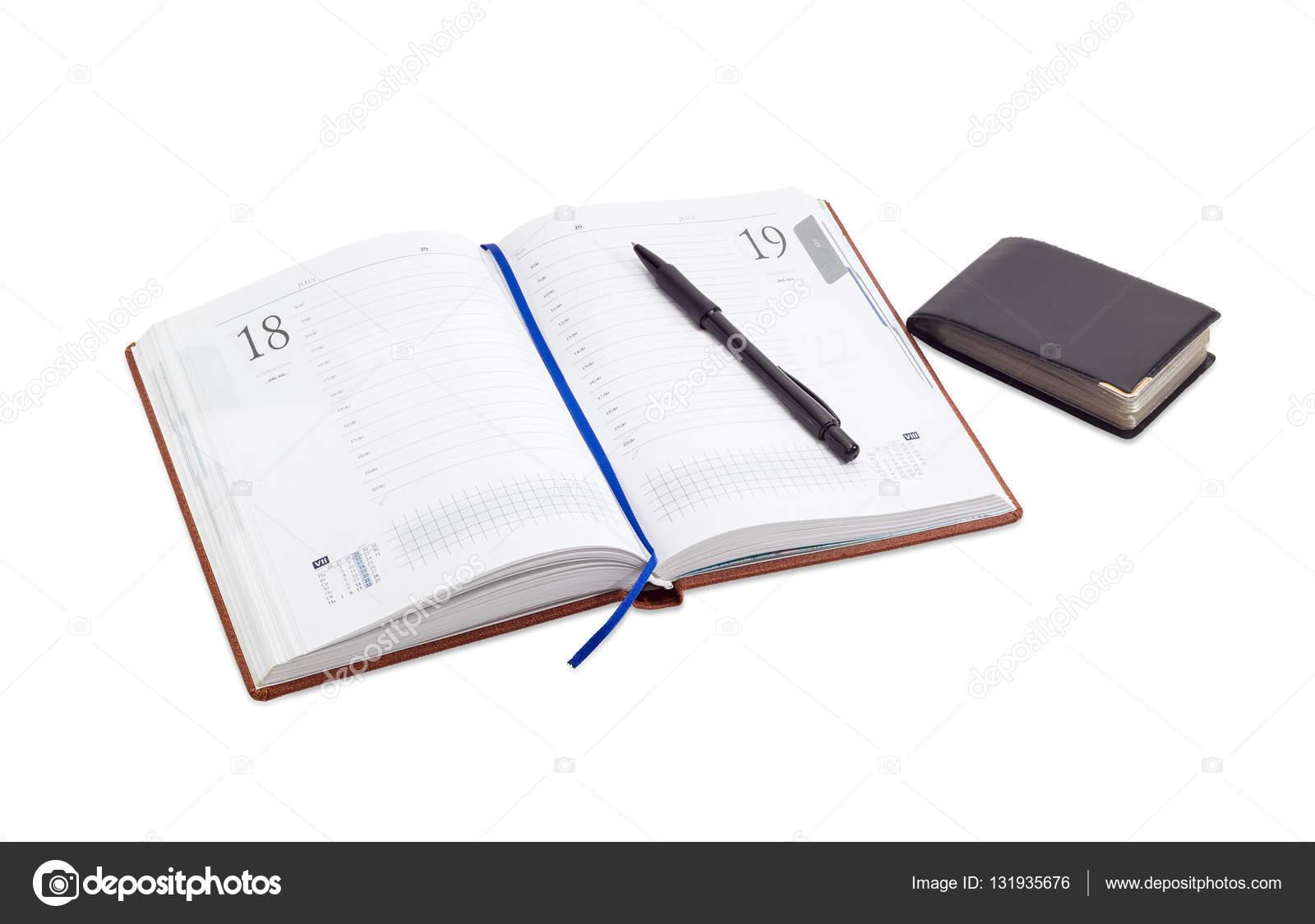 Journal Daffaires Ouvert Avec Lignes Pendant Des Heures Dans Le Jour Ouvrable Et Bleu Ruban Marque Page Stylo Noir Dessus Pochette Pour Cartes De