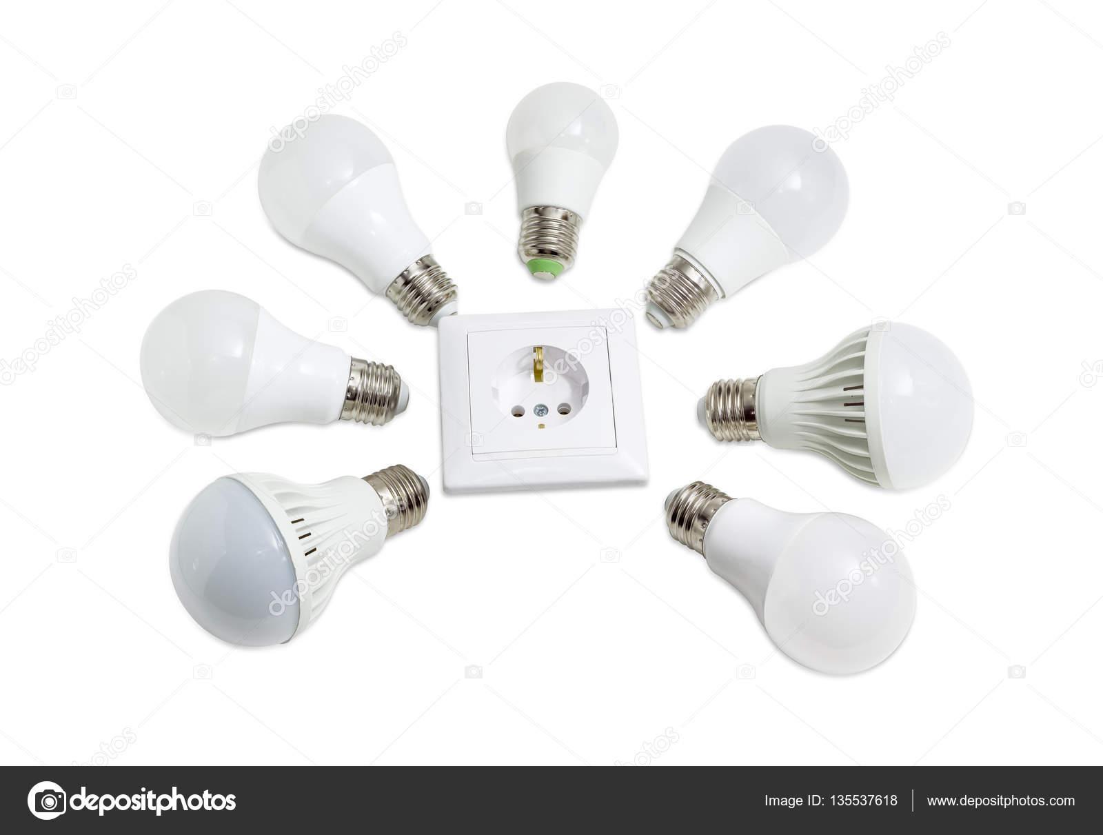 mehreren licht emittierende diode lampe um die steckdose — stockfoto