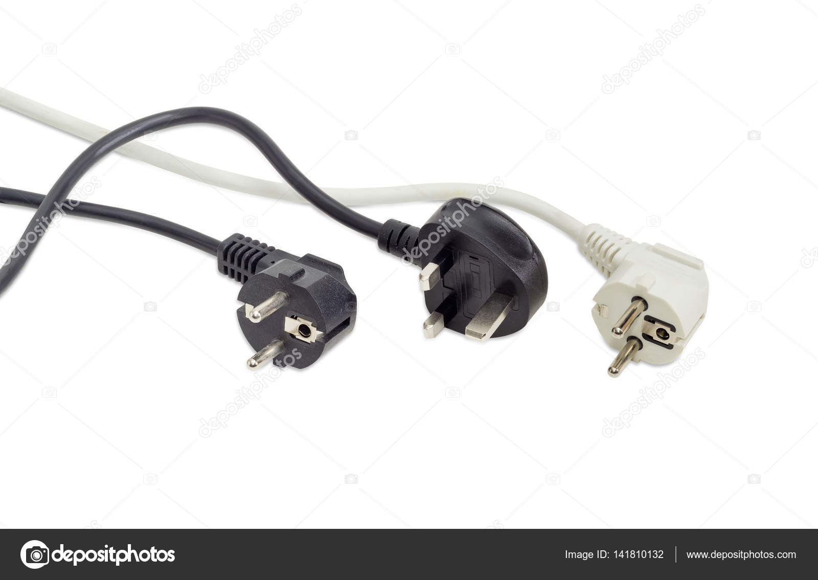 Three AC power plugs of two different standards — Stock Photo ...