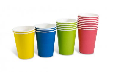 Piles of the disposable paper cups in different colors