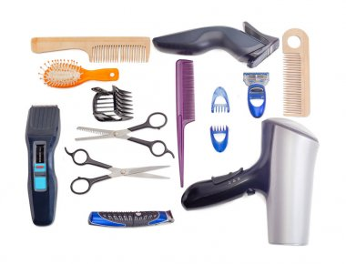 Set of hairdressing tools on a white background