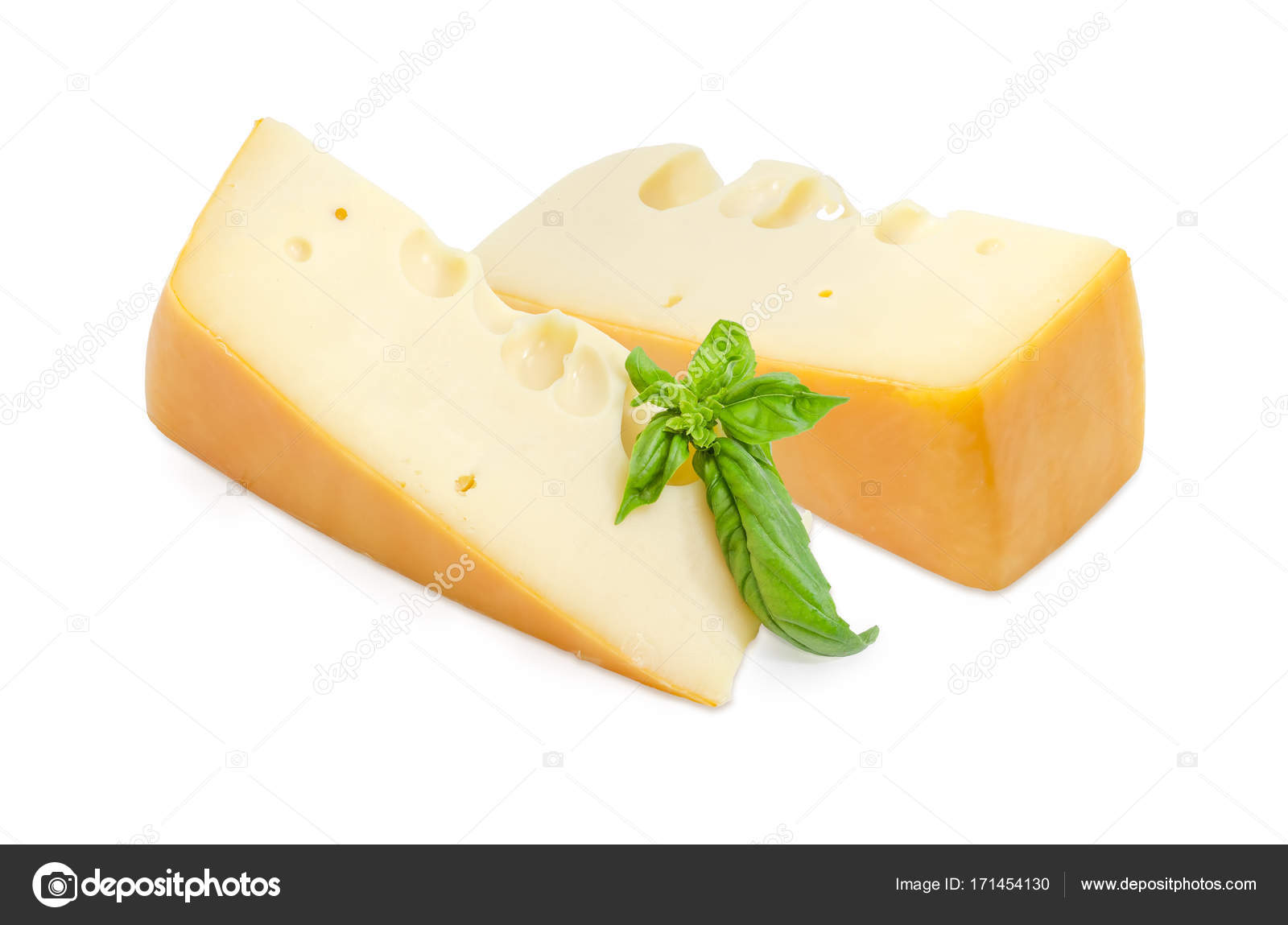 Two Pieces Of Swiss Type Cheese With Basil Twig Stock Photo