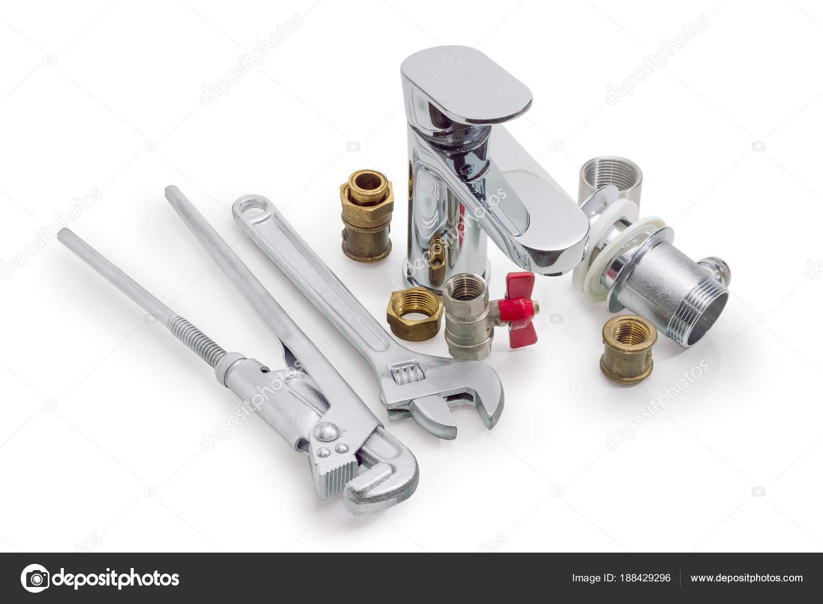 Omgaan met mengkraan sanitair onderdelen loodgieter moersleutel en