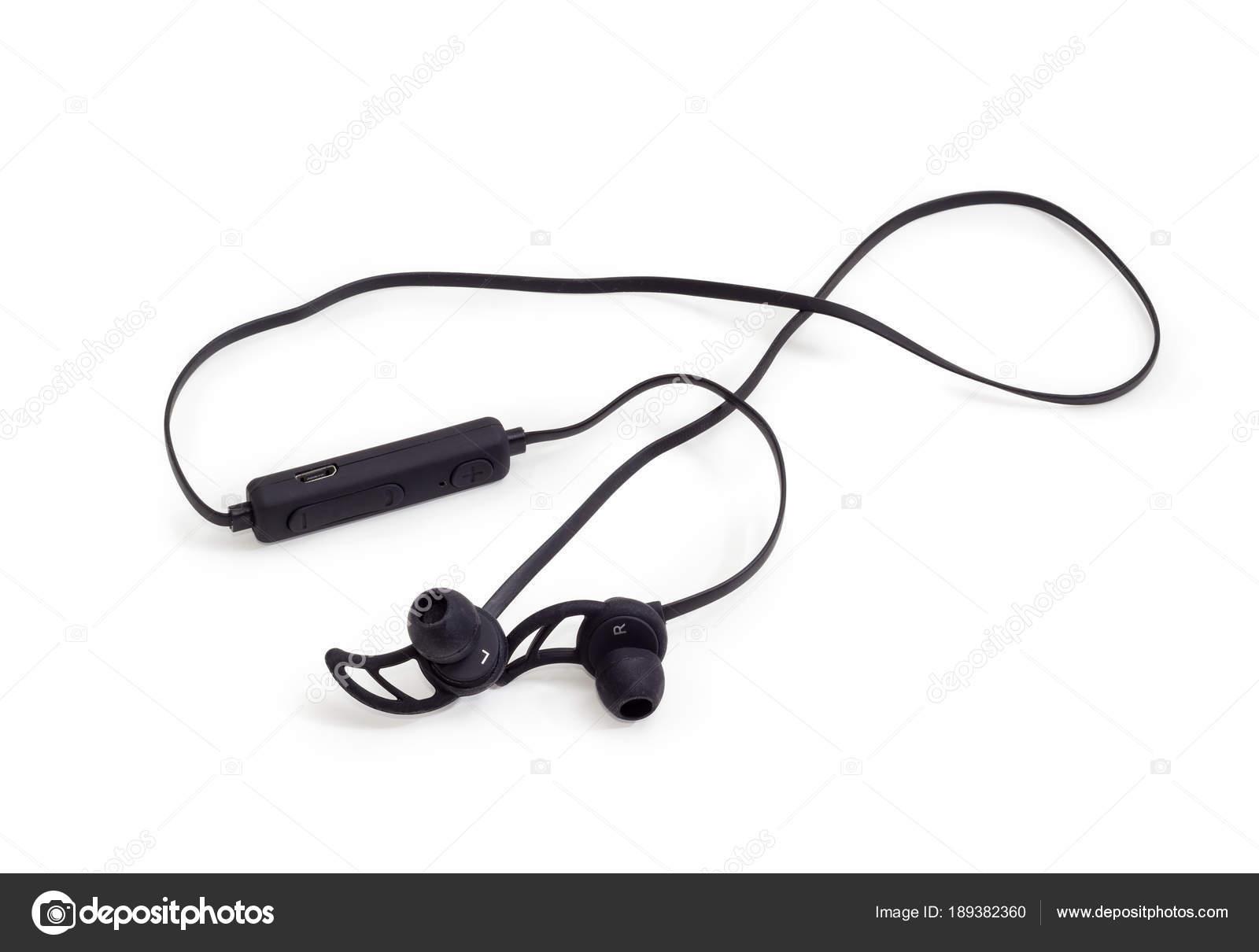 Auricolari wireless neri su sfondo bianco — Foto Stock © anmbph ... 097609e51b0b