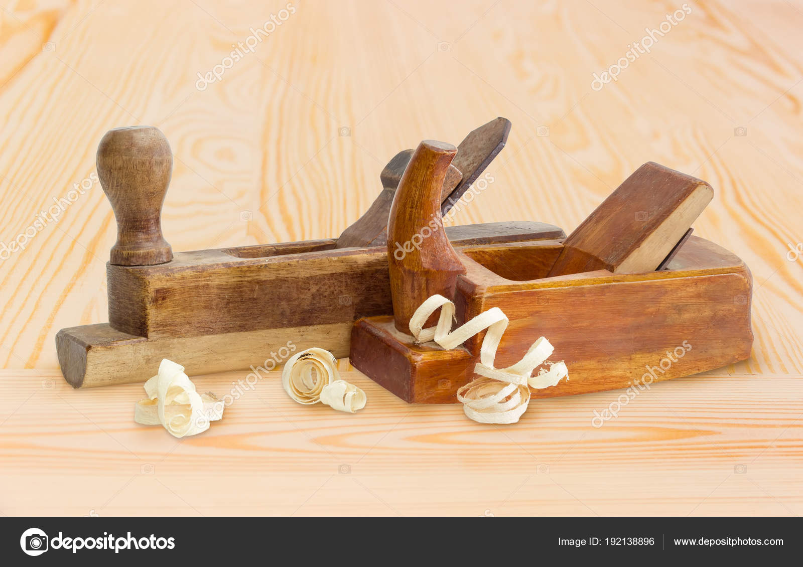 Two Old Wooden Hand Planes Different Purposes On Wooden Surface