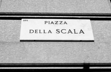 Marble plaque of the Piazza della Scala in Milan - black and whi