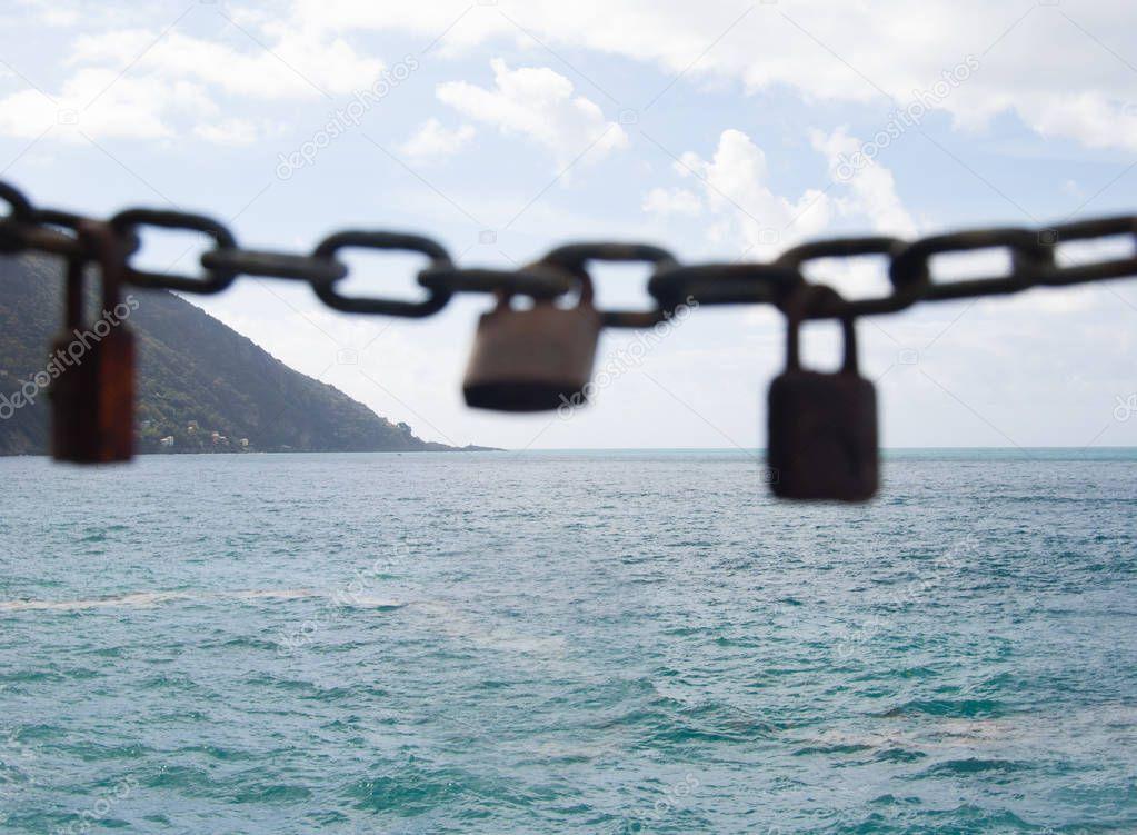 Punta Chiappa with three padlocks