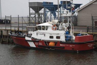 Coast guard boat in Spinnakers Landing, Summerside, Prince Edward Island, Canada