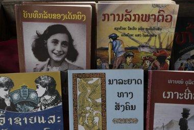 Books for sale at market, Luang Prabang, Laos