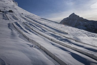 View of fenced zones at ski resort, Sunshine Ski Resort, Banff National Park, Alberta, Canada stock vector