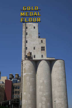 Gold Medal Flour sign on Mill City Museum, Minneapolis, Hennepin County, Minnesota, USA