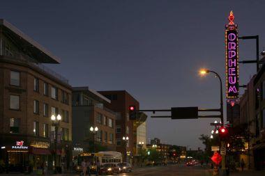 View of city street at night, Minneapolis, Hennepin County, Minnesota, USA